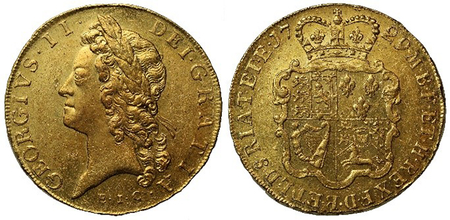 Figure 5. Five Guineas coin of George II. The letters EIC beneath the King's head tell us that the gold was from the East India Company.